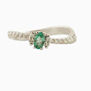Emerald, Diamond & 18 Karat White Gold Engagement Ring