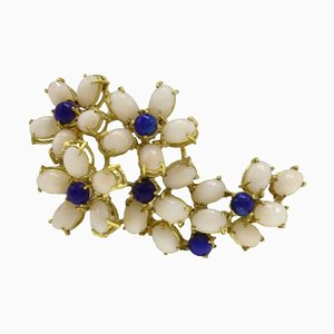 Oval Pink Coral, Lapis Lazuli & 18K Yellow Gold Brooch