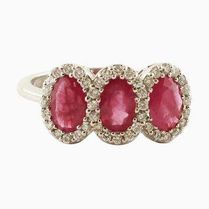 Ruby, Diamond & 18 Karat White Gold Ring