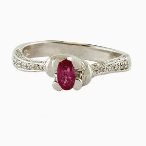 Ruby, Diamond & 18 Karat White Gold Engagement Ring