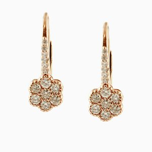 18 Karat Rose Gold Flower Dangle Earrings with Diamonds, Set of 2