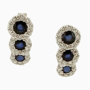 18 Karat White Gold Stud Earrings with Blue Sapphires & Diamonds, Set of 2