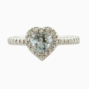 Heart-Shaped Aquamarine, Diamond & 18 Karat White Gold Ring