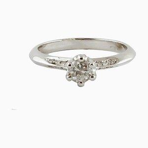 White Diamond & 18 Karat White Gold Engagement Ring