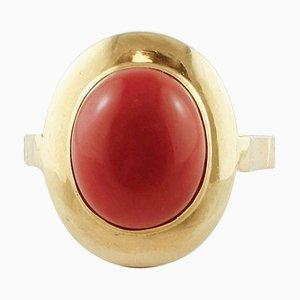 18 Karat Yellow Gold & Red Coral Ring