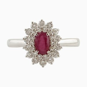 18 Karat White Gold Engagement Ring with Ruby & Diamonds
