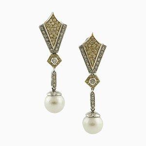Orecchini pendenti in oro giallo e bianco con diamanti, perle e 18 carati, set di 2