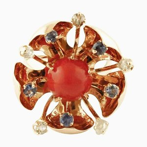 Diamond, Sapphire, Coral & Rose Gold Flower Ring