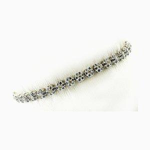 Diamonds, Light Blue Sapphire and 14K White Gold Link Bracelet