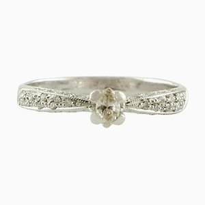 Diamonds and 18K White Gold Solitaire Ring
