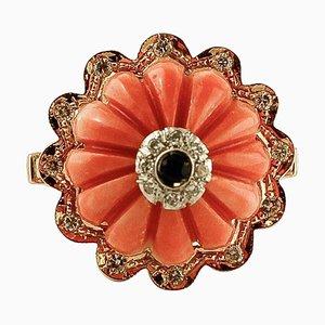 Elatius Vintage Ring aus Koralle, Diamanten, Saphir und 14 Karat Roségold