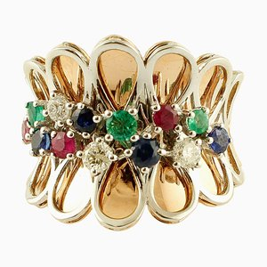 Diamonds, Rubies, Emeralds, Sapphires and 14K Rose Gold Fantasy Ring