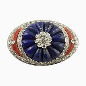 Broche Lapis Lazuli, Corail, Diamant et Or Blanc 14K