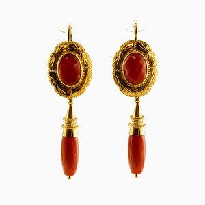 Orecchini pendenti vintage in oro giallo 18 carati e corallo, set di 2