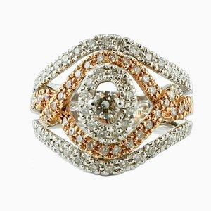 Vintage Ring aus 18 Karat Weiß- und Gelbgold mit Diamanten