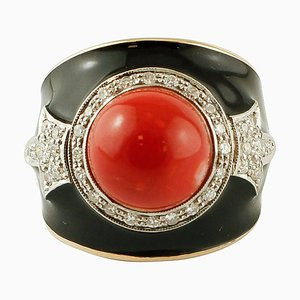 Diamonds, Red Rubrum Coral and 14K Yellow Gold and Enamel Ring