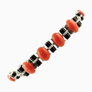 Coral, Onyx, Diamonds and 14K White Gold Vintage Bracelet