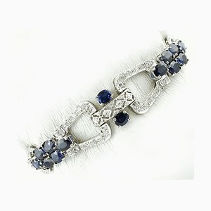 Bracelet Diamants, Saphirs Bleus et Or Blanc 9K