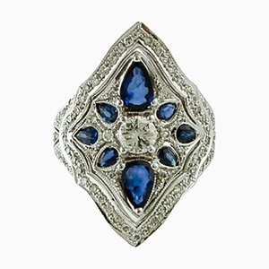 Vintage 14K White Gold Ring with Diamonds & Blue Sapphires