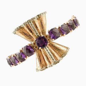 Rose Gold Bow Bracelet with Amethyst, Topaz & Diamonds