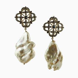 Aretes colgantes vintage de oro blanco y plata de 14 quilates con diamantes, zafiros azules y perlas barrocas. Juego de 2