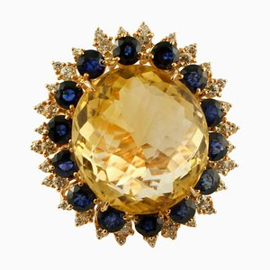 Big Yellow Topaz, Diamonds, Blue Sapphires and 18K Rose Gold Ring
