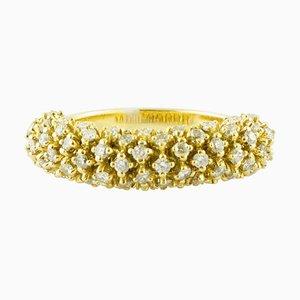18K Yellow Gold and Diamond Band Ring