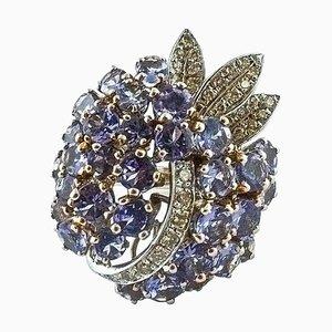 Tansanit, Diamant und Weißgold Ring