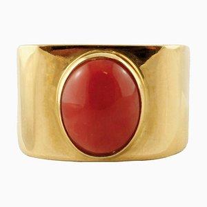Ring aus 18 Karat Gelbgold und Zentraler Koralle