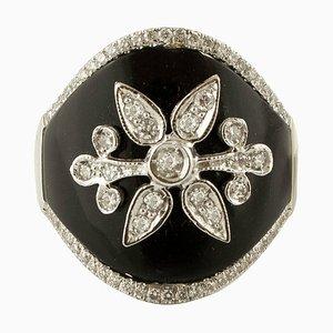 Diamonds, Onyx and 18K White Gold Ring