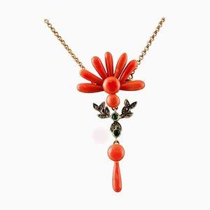 Coral ,Diamonds, Tsavorite and Rose Gold Pendant Necklace