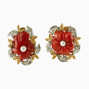 Vintage White and Yellow Gold Flower Ring with Coral & Pearls