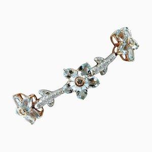 Bracelet Artisanal à Maillons Diamants, Aigue-Marine, Or Blanc et Jaune