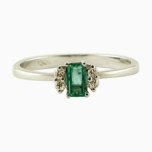 Emerald, Diamond and 18K White Gold Solitaire Ring