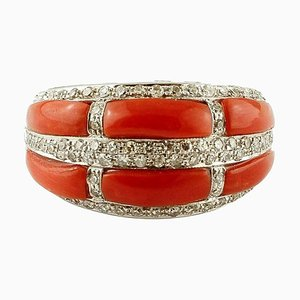 14K White Gold Band Ring with Coral & Diamonds