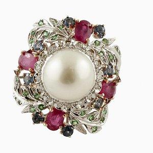 South Sea Pearl, Diamonds, Rubies, Sapphires, Tsavorites, Yellow and White Gold Ring