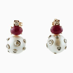Orecchini pendenti in oro giallo 14K con perle, rubini e diamanti, set di 2