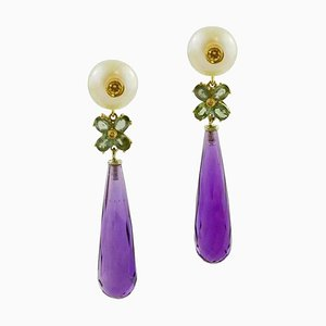 Dangle Earrings with Pearls, Sapphires, Hydro Amethyst, Diamonds & Yellow Gold, Set of 2