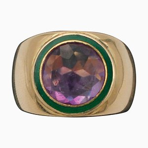 Central Amethyst and 18K Yellow Gold Ring