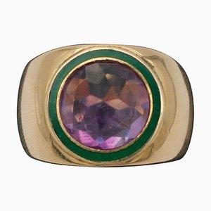 Zentraler Ring aus Amethyst und 18 Karat Gelbgold