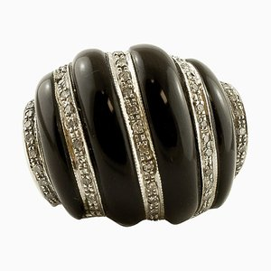 Diamonds, Onyx and White Gold Vintage Ring