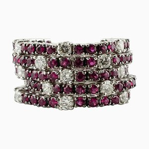 14K White Gold Band Ring with Diamonds & Rubies