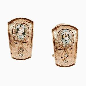 Orecchini con diamanti, acquamarina e oro rosa 14K, set di 2