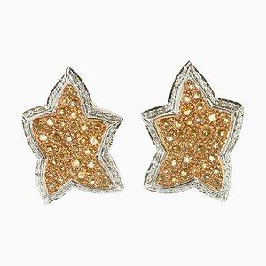 Diamonds, Yellow Topaz, White and Yellow Gold Star Earrings, Set of 2