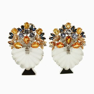 14K Weißgold Ohrringe mit Diamanten, Saphiren, Tansanit & Bergkristall, 2er Set