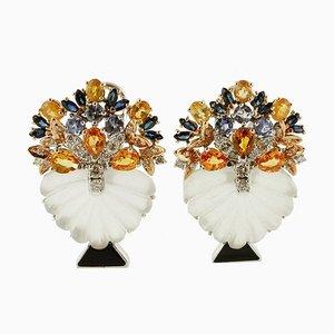 Orecchini in oro bianco 14K con diamanti, zaffiri, tanzanite e cristallo di rocca, set di 2