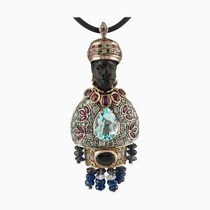 Ebony, Diamonds, Rubies, Sapphires, Aquamarine, Tourmaline and 9K Rose Gold and Silver Moretto Pendant