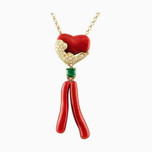 Gold Necklace with Coral Pendant, Diamonds and Emerald