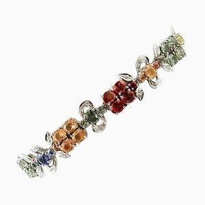 Bracelet à Maillons en Diamants, Saphirs Colorés et Or Blanc 14K
