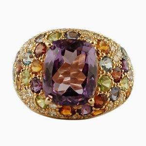 Central Amethyst, Diamonds, Garnets, Topazes and14K Yellow Gold Ring